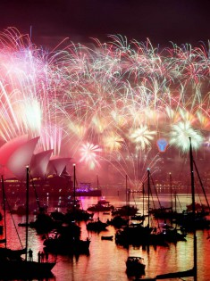 Fireworks in Sydney on New Year 2015